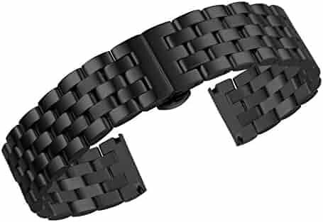 2e2e610a3d9 20mm Jubilee Style Luxury Black Solid Inox Metal Watch Strap Replacements  Uniflow Heavy Type Stainless Steel