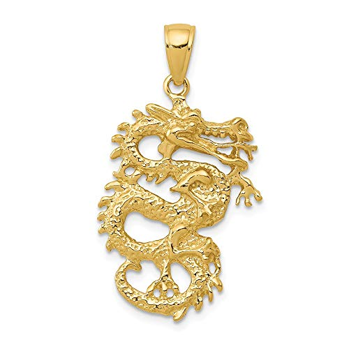 Jewelry Pendants & Charms Themed Charms 14k Solid 3-Dimensional Dragon Pendant