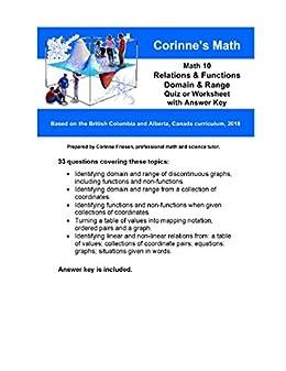 Math 10: Relations & Functions: Domain & Range , Quiz or ...