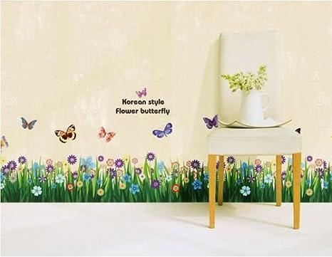 Hallobo Wandtattoo Garten Grun Gras Wandaufkleber Fliegende Schmetterlinge Blumen Koreanisch Wandsticker Wall Sticker Fussleiste Wohnzimmer Schlafzimmer Deko Korridor Treppen Amazon De Kuche Haushalt
