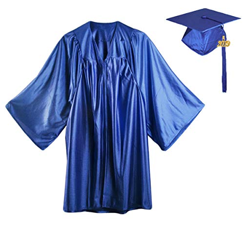 HEPNA [2019] Uniforms Preschool&Kindergarten Graduation Gown Cap Tassel Set,Shiny Royal Blue Graduation Robe Size 24 -