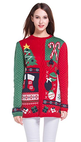 Women's Christmas Cute Reindeer Snowflakes Knitted Sweater Girl Pullover (Large, GreenRedSlves)