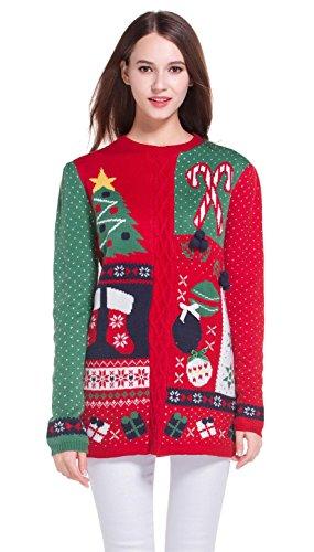 Women's Christmas Cute Reindeer Snowflakes Knitted Sweater Girl Pullover (Medium, GreenRedSlves) ()