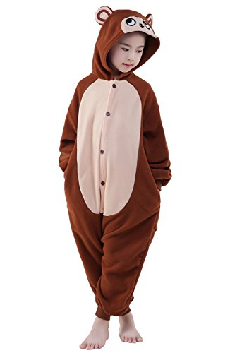 NEWCOSPLAY Unisex Children's Onesie Monkey Cosplay Animal Costume (Brown Monkey, 105) ()