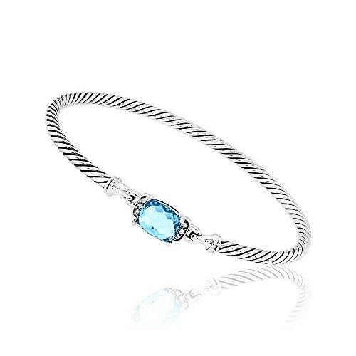 DY David Yurman Petite Wheaton Hampton Blue Topaz & Diamond Bracelet B11194DSSAIBDI