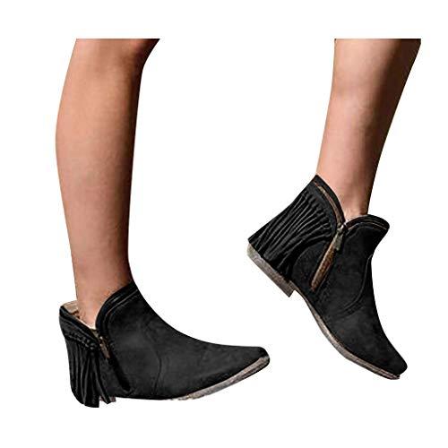 Veodhekai Womens Heels Short Boots Solid Retro Tassel Low-heele Zipper Non-Slip Roman Shoes Short Boots Black