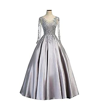 Amazon.com: inmagicdress Silver Long Sleeves Prom Dresses