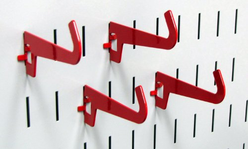 Wall Control Pegboard 3-1/2in Reach Curved Tip Slotted Hook Pack - Slotted Metal Pegboard Hooks for Wall Control Pegboard and Slotted Tool Board - Red