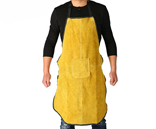 Ouzong Cowhide Leather Welding Bib Apron Heat Flame Resistant Apron With Pocket Golden Brown Welding Bib Apron