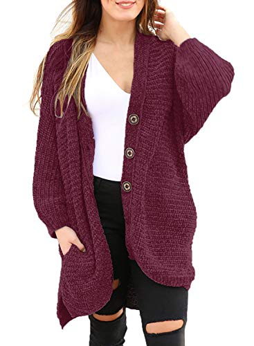 HOTAPEI Womens Cardigans Sweaters Long Sleeve Plus Size Velvet Cozy Chenille Long Oversized Button Down Winter Knit Open Front Boyfriend Cardigan Coats with Pockets Wine L