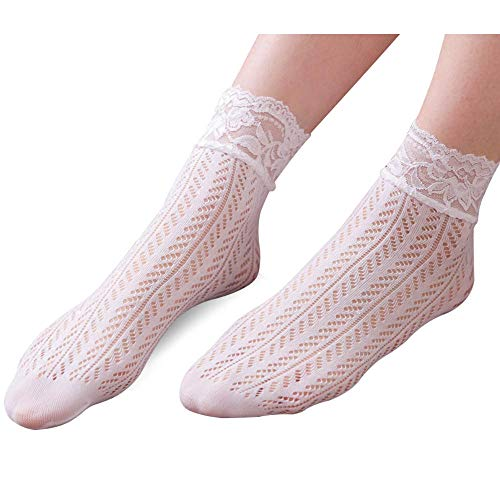 (Floosum Women's 2 Pair White Lace Fishnet Sheer Ultra-thin Dress Ankle Socks (White) , Mddium)