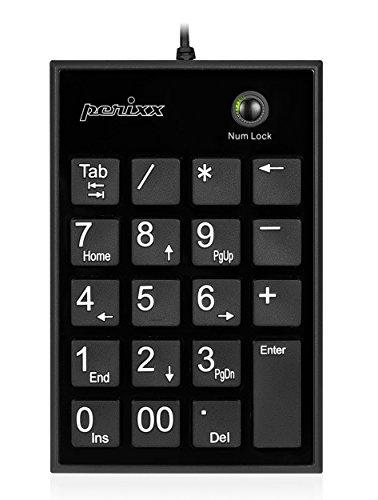 Perixx PERIPAD-202HB, Numeric Keypad for Laptop - USB - Built-in 2Xusb Hub - Tab Key Feature - Full Size 19 Keys - Big Print Letters - Silent x Type Scissor Keys - Black (Numeric Tab)
