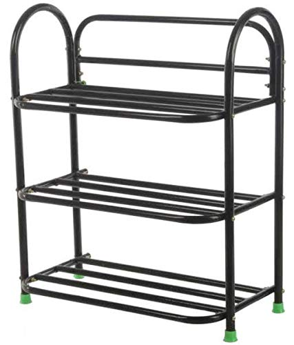 Qth Multi Purpose Steel Shoe Rack    3 Tier, Black
