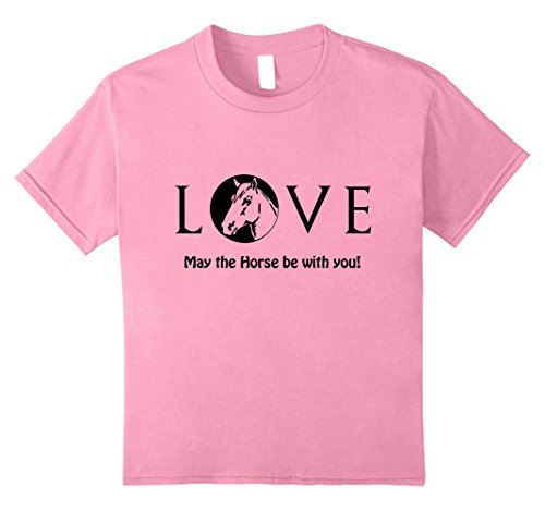 Kids Love - May the Horse be with you Funny novelty horse tshirt 12 Pink