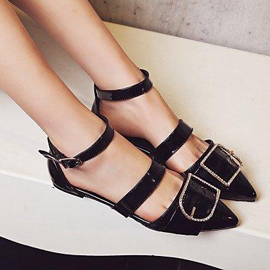 LvYuan sandalias de verano de Orsay&Dos piezas de partido del cuero de patente comodidad&vestido de noche de la hebilla del talón plano Black