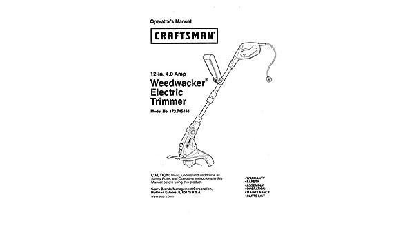 Sears craftsman electric weedwacker, bladeless grass trimmer.