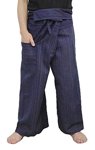 14a5ee319dd Thai Fisherman Pants Yoga Trousers Free Size Plus Size Cotton Dark Blue  Stripe By Hugdethailand