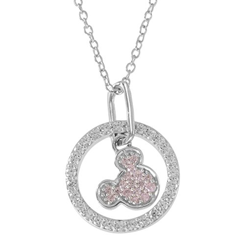 Disney Mickey Mouse Sterling Silver Two Tone Cubic Zirconia Pendant Necklace, Mickey's 90th Birthday Anniversary; Jewelry for Women