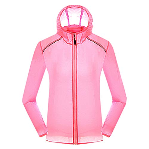 Women's & Men's Portable Outdoor Hooded Jacket Hiking Outwear Lightweight UV Protect+Quick Dry Windproof Skin Coat Pink