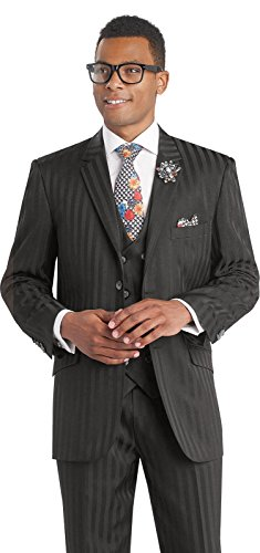 Double Breasted Striped Suit (EJ Samuel Black Shadow Striped 3 Piece Mens Suits M2687 Suit For Men (40 R))