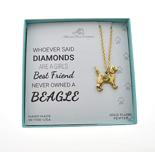 Beagle charm pendants in 24K gold plated pewter on a 18