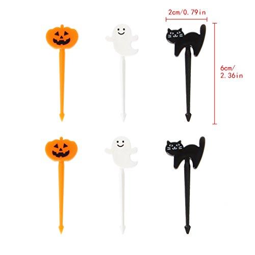Misright Cute Farm Cartoon Animal Fruit Fork Set Plastic Toothpick Tableware Food Picks (Halloween)]()