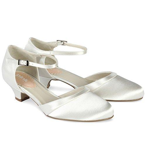 London rotonda basso scarpe Avorio Satin da punta Pink Ivory Paisley sposa tacco Paradox dTqBaZSd