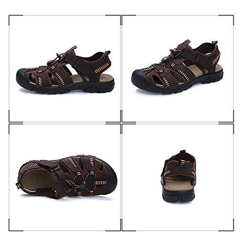 Montagne Homme Velcro Pour En Sandales De Caoutchouc Chaussures Cuir Avec Extérieure Semelle Jacquard Ceinture Plage Robuste Xiaoly Antidérapante Darkbrown Réglable Sandale tY1IqwaxY