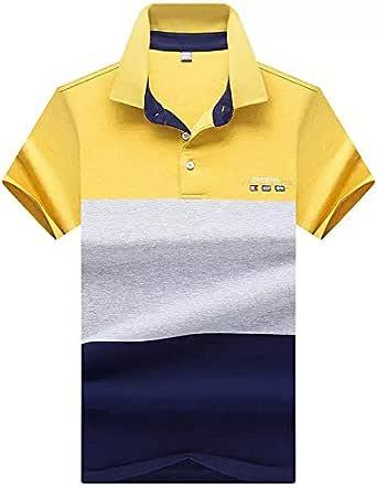 قميص بولو كاجوال من القطن بتصميم قصير الاكمام ومخطط للرجال، ورياضي للجري والجولف