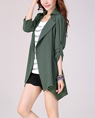 Puro Casuale Tops Elegante Giubbotto Orlare Revers Chic Cute Colore Verde Oversize Giacche Mieuid Donna Baggy Autunno Irregular Longsleeve Giacca Cappotto USxq6wt4