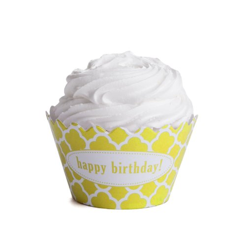 Dress My Cupcake Personalized Message Cupcake Wrappers, Spanish Tile, Quatrefoil, Happy Birthday, Yellow, Set of 12 (Spanish Tile Cupcake Wrapper)