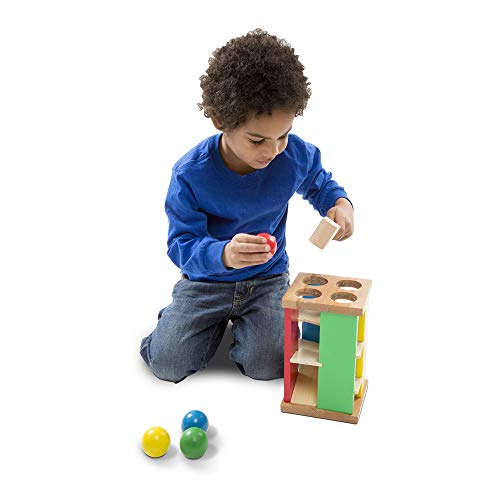 "Melissa & Doug Pound & Roll Tower, Developmental Toy, Classic Pounding Toy, Bright-Colored Pieces, Durable Construction, 10"" H x 5.65"" W by Melissa & Doug (Image #1)"
