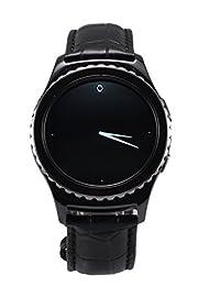 Samsung Gear S2 Classic Strap OKCS® genuine Leather Band real Leatherband Watchband Arm Wrist Strap Crocodile, in black