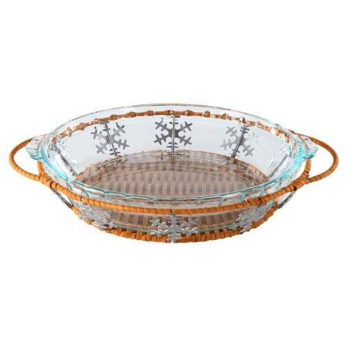 Pyrex 9.5 Snowflake Pie Plate Basket Set