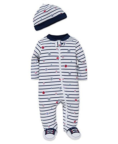 Little Me Baby Boys' Unisex 2 Piece Footie and Cap Set,  Azul marino/Rayas