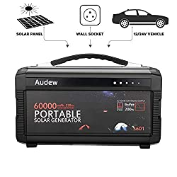 Audew 220Wh/60000mAh Portable Battery Generator Power Source-Lithium Battery Power Supply with Silent 110V/60Hz,Max 200W AC Power Inverter,DC 12V/5A &USB Ports,Charged by Wall Outlet/Car/Solar Panel