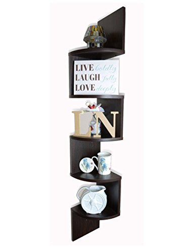 Adorn 5 Tier Wall Mount Corner Shelves Walnut Finish