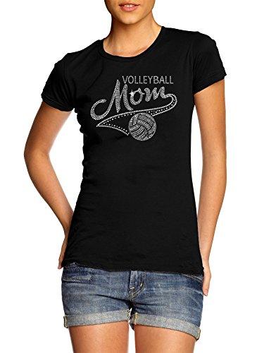 VOLLEYBALL MOM SWOOSH RHINESTONE L Black Girly (Volleyball Mom Rhinestone)