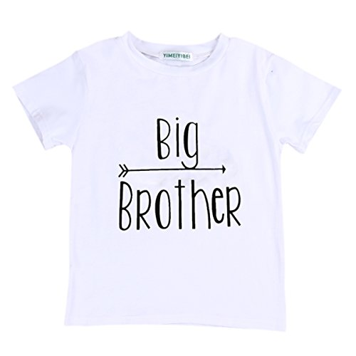 Big Brother Print Arrow Pattern T-Shirt, White (Big Brother), 6-7 Years/Tag 130