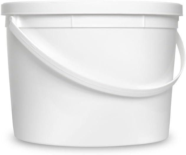 1 Gallon White Bucket & Lid - Set of 12 - Durable 90 Mil All Purpose Pail - Food Grade - Contains No BPA Plastic (1 Gal. w/Lids - 12pk)