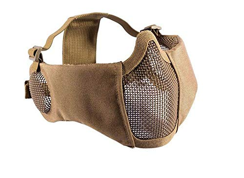 OSdream Military Tactical Lower Face Protective Mask,Foldable Half Face Airsoft Mesh Mask with Ear Protection (Tan)