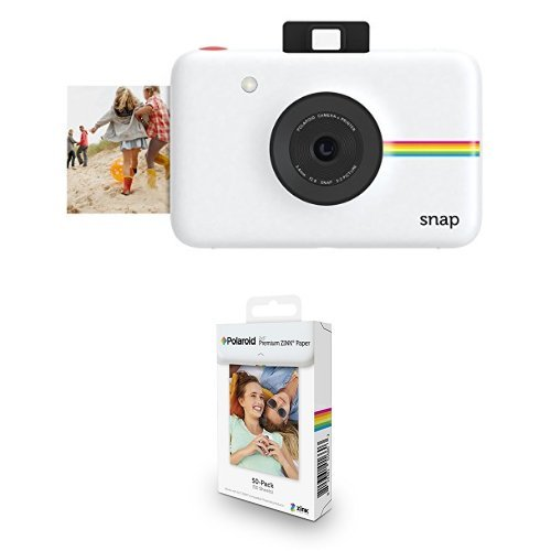 Polaroid Snap Instant Digital Camera (White) with ZINK Zero Ink Printing Technology w/ Polaroid 2x3 inch Premium ZINK Photo Paper (50 sheets) by Polaroid