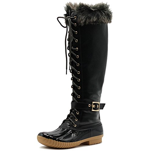Fur Boots High Ollio Lace up Buckled Knee Black Faux Women's Duck Shoe gwqw0vf1