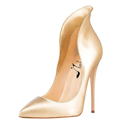 Toe High Heels Stiletto Chic Pumps Gold Jushee for Pointed Women's Evening Shoes qtqXF