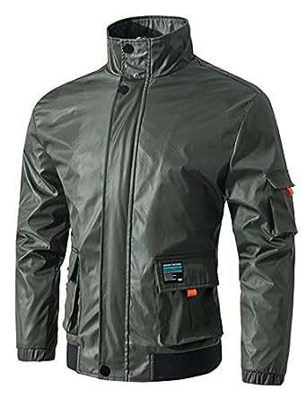 Jueshanzj Men's Stand Collar Jacket L ArmyGreen