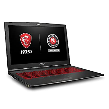 MSI GV62 8RD-034 15.6 Thin and Light Gaming Laptop, GeForce GTX 1050Ti 4G, Intel i7-8750H (6 Cores), 8GB DDR4, 128GB SSD + 1TB, Windows 10 64 bit, Steelseries Red Backlit Keys