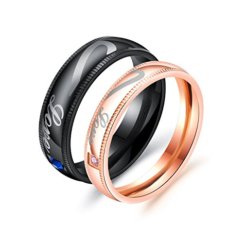 JC Fashion Jewelry Love Heart Matching Set Stainless Steel Wedding Bands His and Her Promise Rings Size 4-12 (Rose gold, 7) by JC Fashion Jewelry