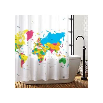 Amazoncom Sunlit Designer New World Map Quality Fabric Shower