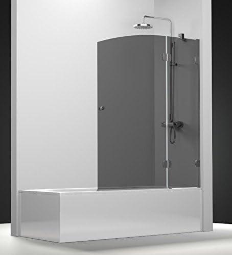 Pare bañera newglass con un Panel fijo y un panel giratoria de cristal en gris ahumado seguridad de 8 mm: Amazon.es: Bricolaje y herramientas