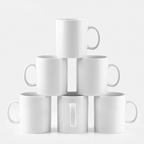 Amuse- Professional Barista Large Mug for Coffee, Tea, Chocolate or Latte- Set of 6- 15 ounce -